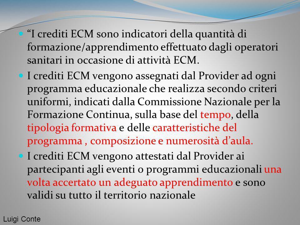 I crediti ECM sono indicatori della quantità di formazione/apprendimento effettuato dagli operatori sanitari in occasione di attività ECM. I crediti E