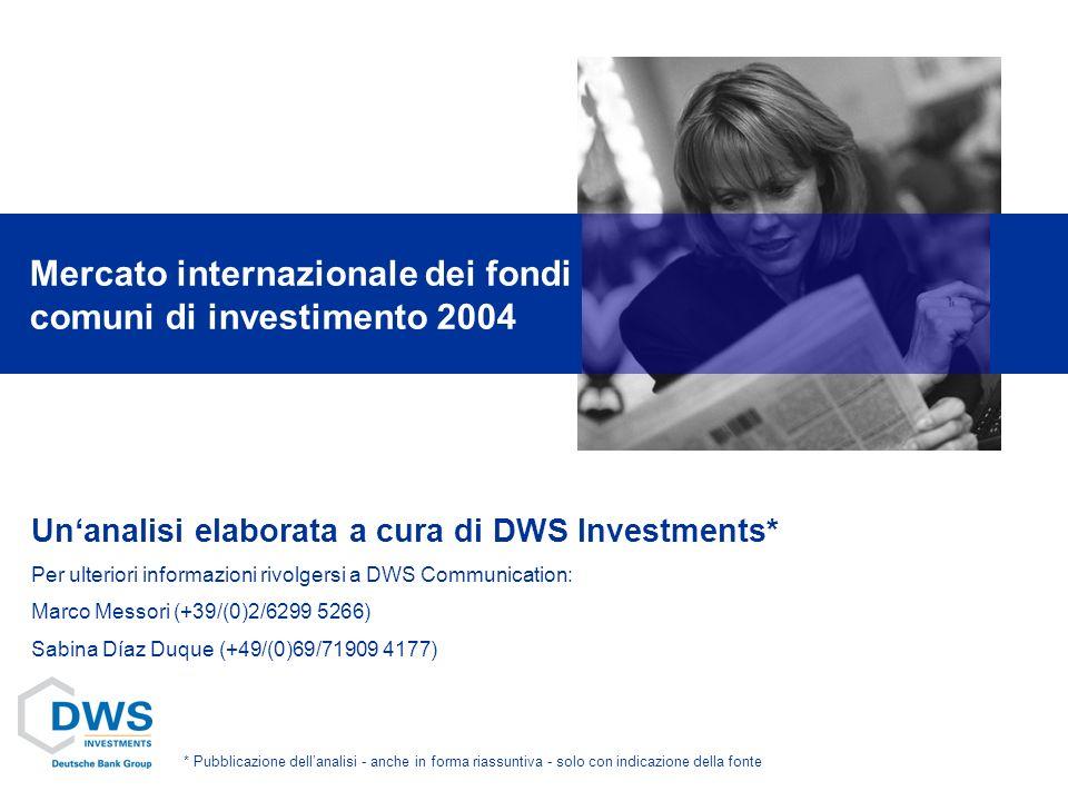Unanalisi elaborata a cura di DWS Investments* Per ulteriori informazioni rivolgersi a DWS Communication: Marco Messori (+39/(0)2/6299 5266) Sabina Díaz Duque (+49/(0)69/71909 4177) Mercato internazionale dei fondi comuni di investimento 2004 * Pubblicazione dellanalisi - anche in forma riassuntiva - solo con indicazione della fonte
