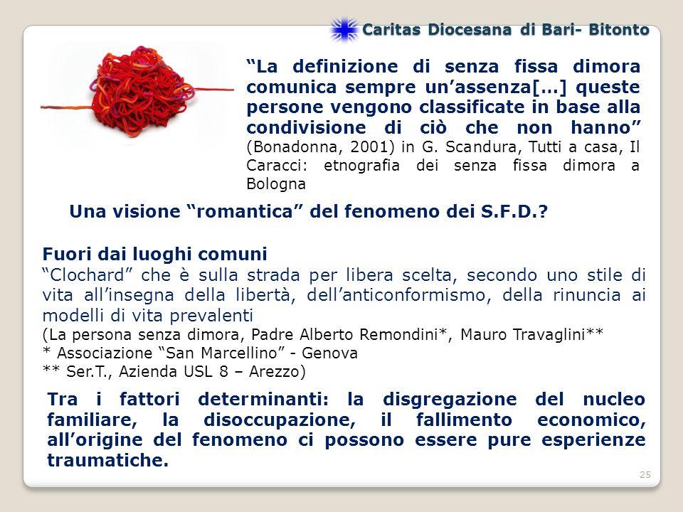 25 Caritas Diocesana di Bari- Bitonto Una visione romantica del fenomeno dei S.F.D..