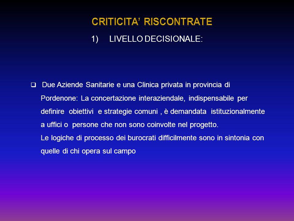 Due Aziende Sanitarie e una Clinica privata in provincia di Pordenone: La concertazione interaziendale, indispensabile per definire obiettivi e strate