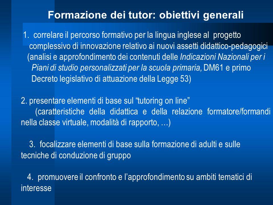 Formazione dei tutor: obiettivi generali 1. correlare il percorso formativo per la lingua inglese al progetto complessivo di innovazione relativo ai n