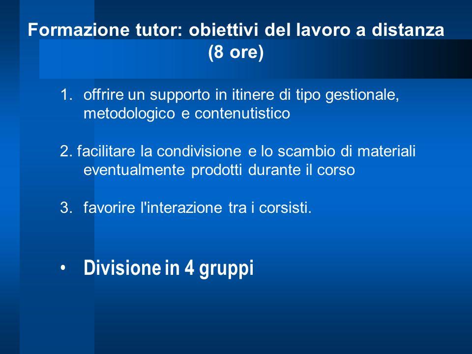 Formazione tutor: obiettivi del lavoro a distanza (8 ore) 1.offrire un supporto in itinere di tipo gestionale, metodologico e contenutistico 2. facili