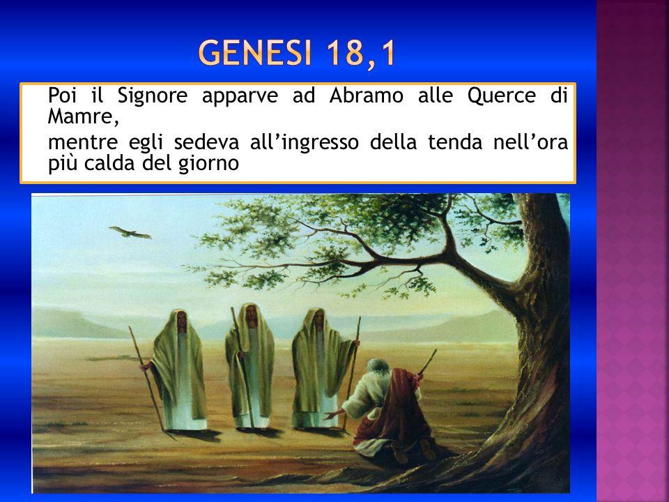 Poi il Signore apparve ad Abramo alle Querce di Mamre, mentre egli sedeva allingresso della tenda nellora più calda del giorno
