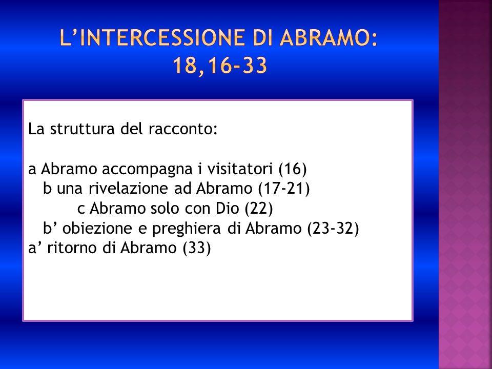 La struttura del racconto: a Abramo accompagna i visitatori (16) b una rivelazione ad Abramo (17-21) c Abramo solo con Dio (22) b obiezione e preghier