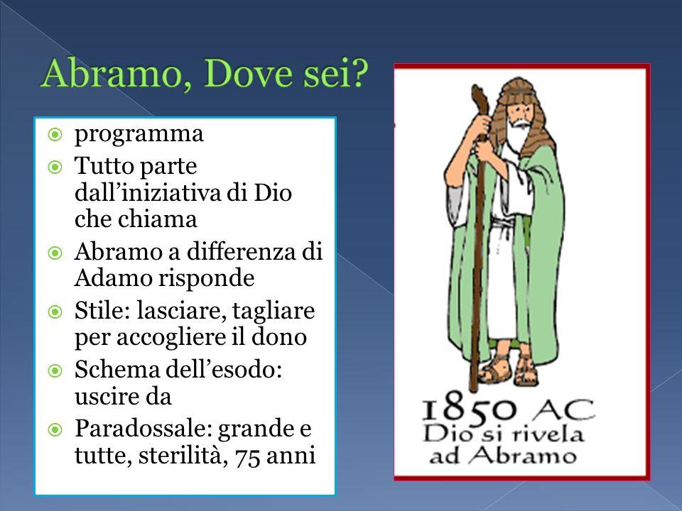 programma Tutto parte dalliniziativa di Dio che chiama Abramo a differenza di Adamo risponde Stile: lasciare, tagliare per accogliere il dono Schema d