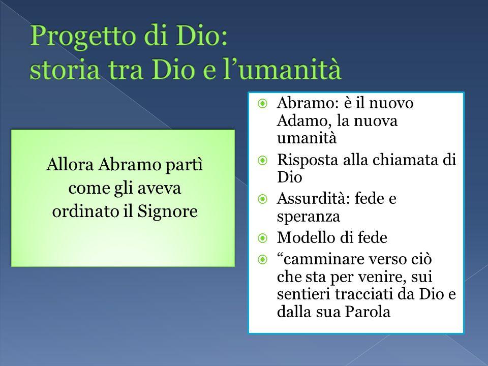 Allora Abramo partì come gli aveva ordinato il Signore Allora Abramo partì come gli aveva ordinato il Signore Abramo: è il nuovo Adamo, la nuova umani