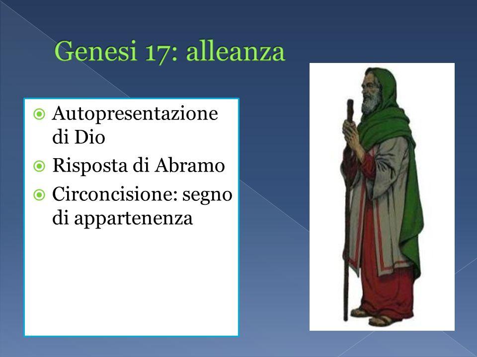 Autopresentazione di Dio Risposta di Abramo Circoncisione: segno di appartenenza