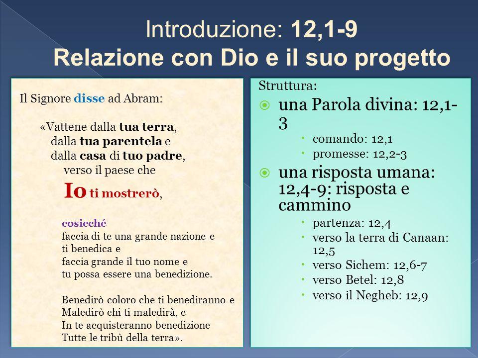 Struttura: una Parola divina: 12,1- 3 comando: 12,1 promesse: 12,2-3 una risposta umana: 12,4-9: risposta e cammino partenza: 12,4 verso la terra di C
