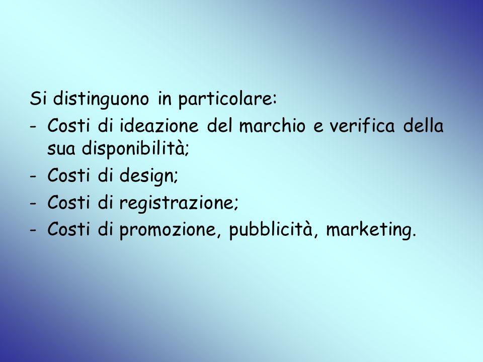 Si distinguono in particolare: -Costi di ideazione del marchio e verifica della sua disponibilità; -Costi di design; -Costi di registrazione; -Costi d