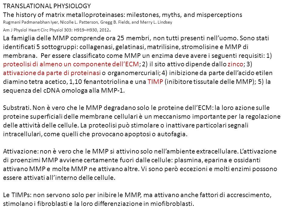 TRANSLATIONAL PHYSIOLOGY The history of matrix metalloproteinases: milestones, myths, and misperceptions Rugmani Padmanabhan Iyer, Nicolle L.