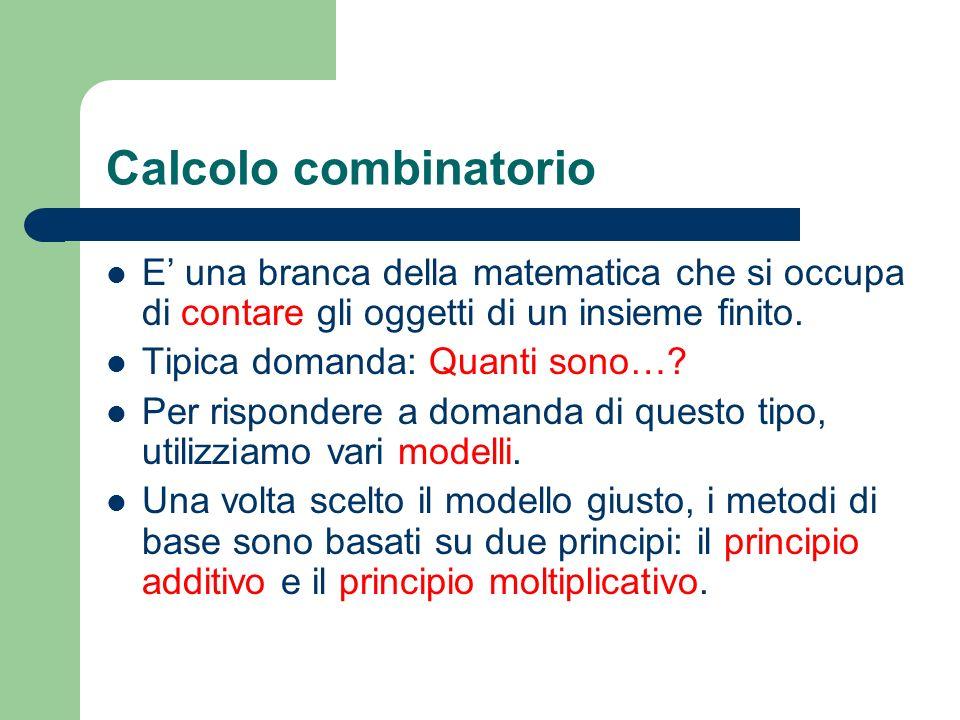 Calcolo combinatorio E una branca della matematica che si occupa di contare gli oggetti di un insieme finito. Tipica domanda: Quanti sono…? Per rispon