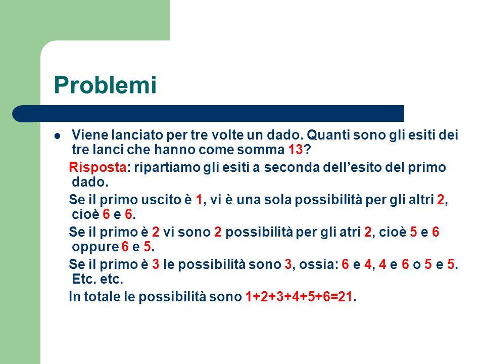 Problemi Viene lanciato per tre volte un dado. Quanti sono gli esiti dei tre lanci che hanno come somma 13? Risposta: ripartiamo gli esiti a seconda d