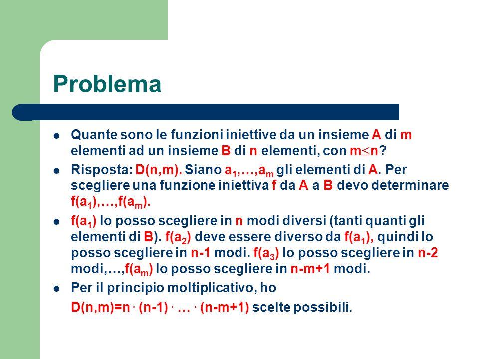 Problema Quante sono le funzioni iniettive da un insieme A di m elementi ad un insieme B di n elementi, con m n? Risposta: D(n,m). Siano a 1,…,a m gli