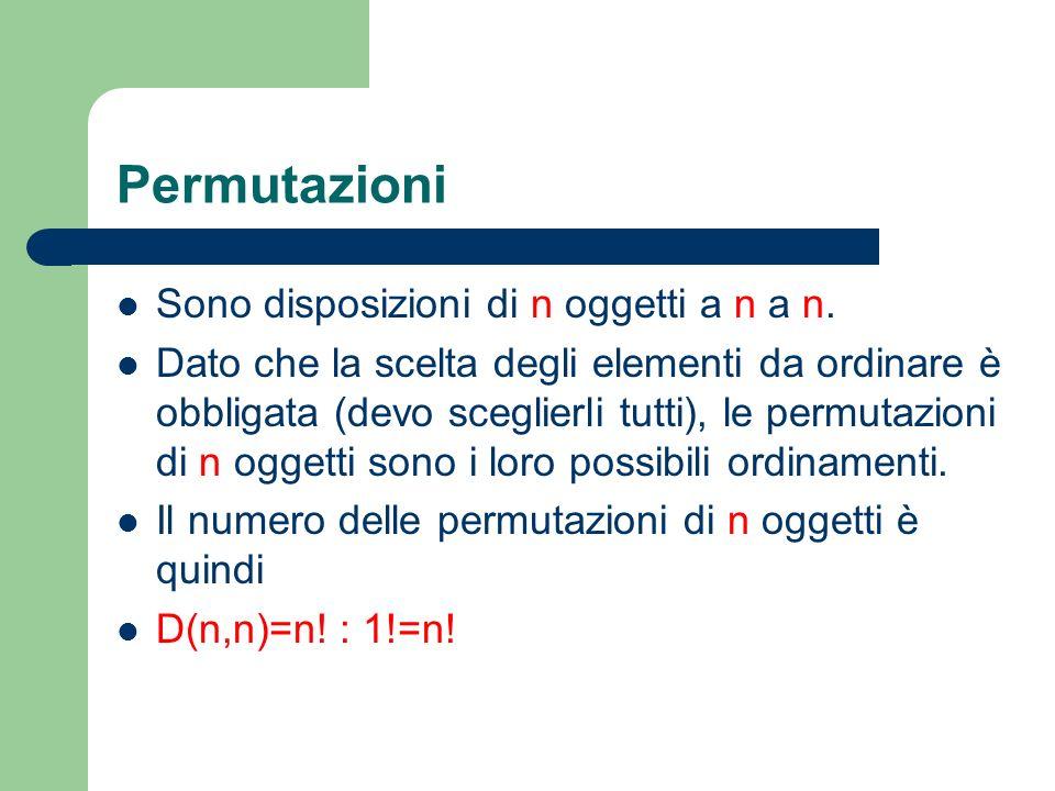 Permutazioni Sono disposizioni di n oggetti a n a n. Dato che la scelta degli elementi da ordinare è obbligata (devo sceglierli tutti), le permutazion
