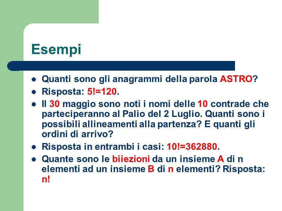Esempi Quanti sono gli anagrammi della parola ASTRO? Risposta: 5!=120. Il 30 maggio sono noti i nomi delle 10 contrade che parteciperanno al Palio del
