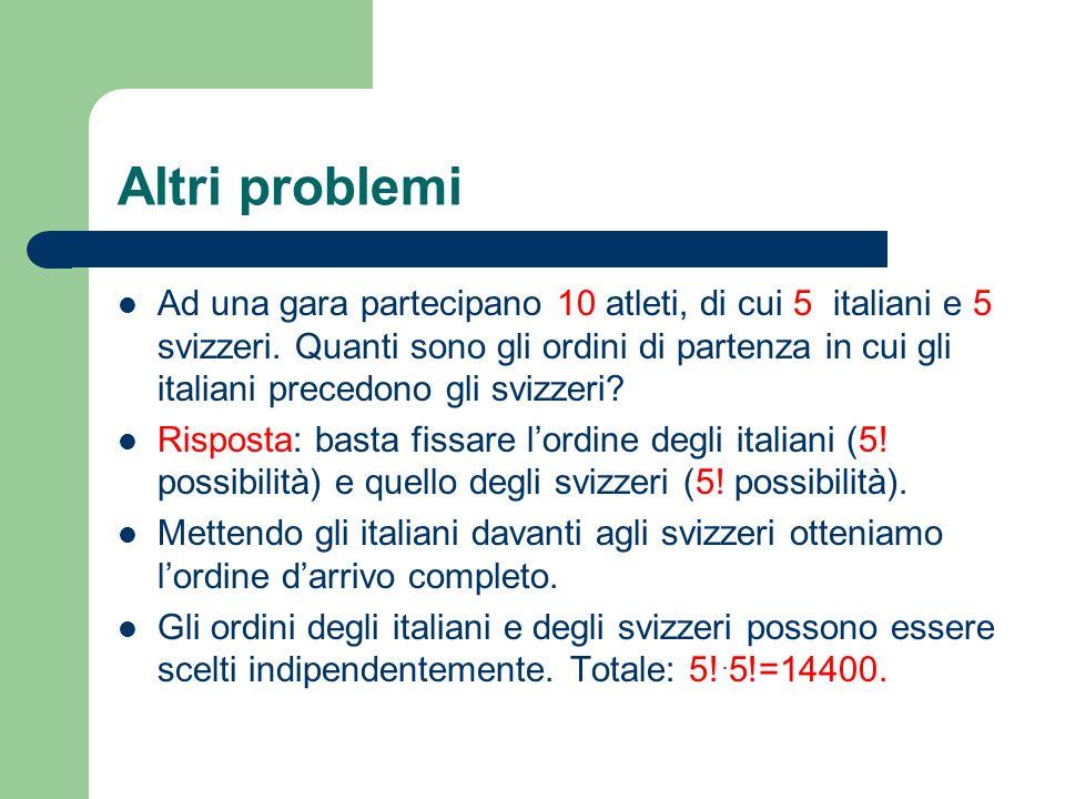 Altri problemi Ad una gara partecipano 10 atleti, di cui 5 italiani e 5 svizzeri. Quanti sono gli ordini di partenza in cui gli italiani precedono gli