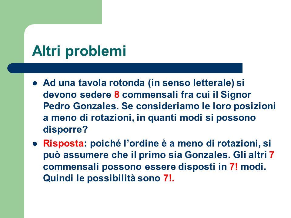 Altri problemi Ad una tavola rotonda (in senso letterale) si devono sedere 8 commensali fra cui il Signor Pedro Gonzales. Se consideriamo le loro posi