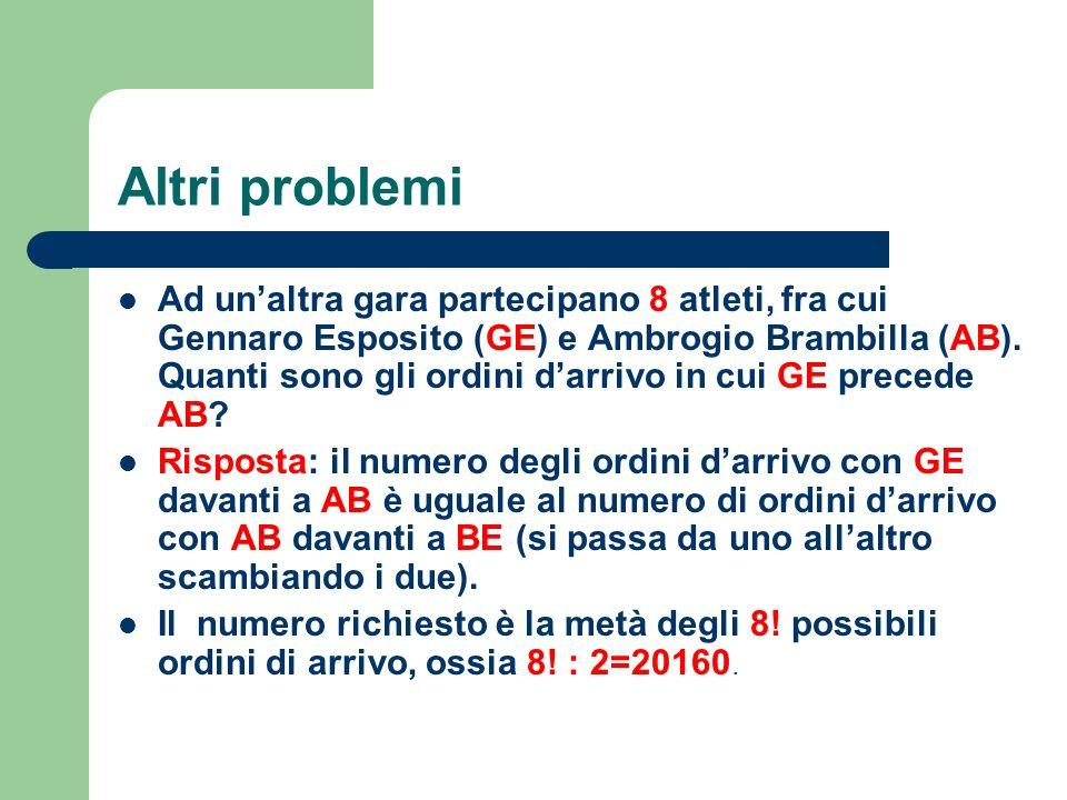 Altri problemi Ad unaltra gara partecipano 8 atleti, fra cui Gennaro Esposito (GE) e Ambrogio Brambilla (AB). Quanti sono gli ordini darrivo in cui GE