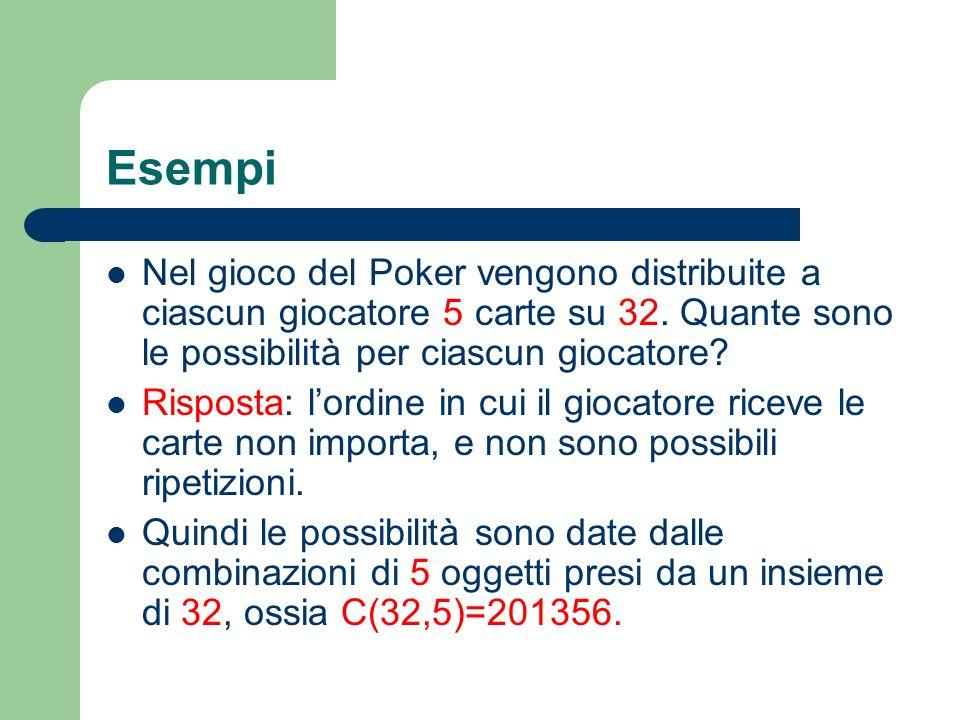 Esempi Nel gioco del Poker vengono distribuite a ciascun giocatore 5 carte su 32. Quante sono le possibilità per ciascun giocatore? Risposta: lordine
