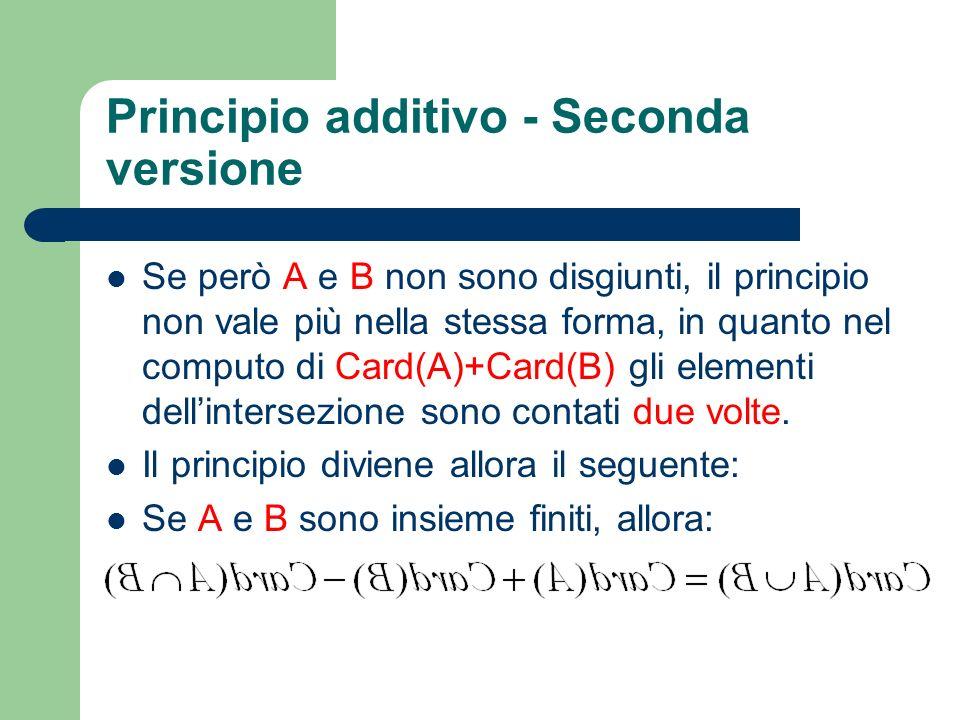 Principio additivo - Seconda versione Se però A e B non sono disgiunti, il principio non vale più nella stessa forma, in quanto nel computo di Card(A)