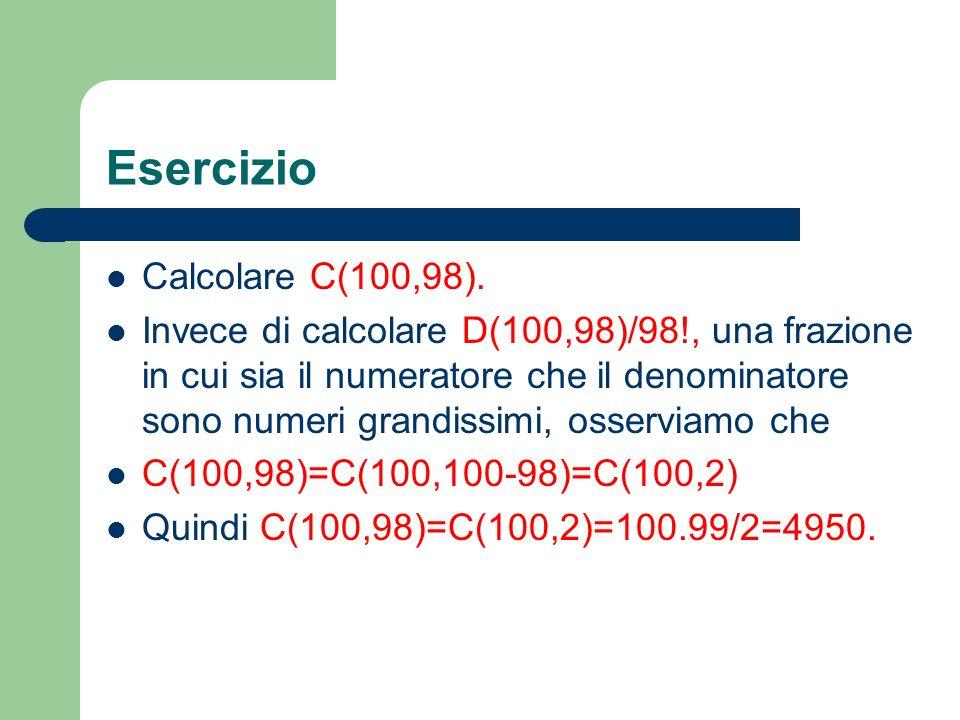 Esercizio Calcolare C(100,98). Invece di calcolare D(100,98)/98!, una frazione in cui sia il numeratore che il denominatore sono numeri grandissimi, o