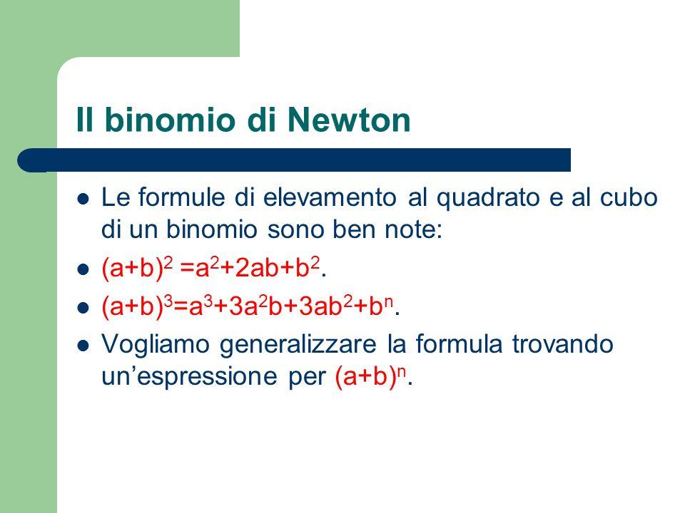 Il binomio di Newton Le formule di elevamento al quadrato e al cubo di un binomio sono ben note: (a+b) 2 =a 2 +2ab+b 2. (a+b) 3 =a 3 +3a 2 b+3ab 2 +b