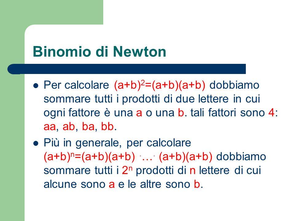 Binomio di Newton Per calcolare (a+b) 2 =(a+b)(a+b) dobbiamo sommare tutti i prodotti di due lettere in cui ogni fattore è una a o una b. tali fattori