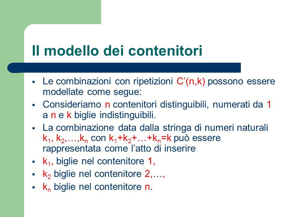 Il modello dei contenitori Le combinazioni con ripetizioni C(n,k) possono essere modellate come segue: Consideriamo n contenitori distinguibili, numer