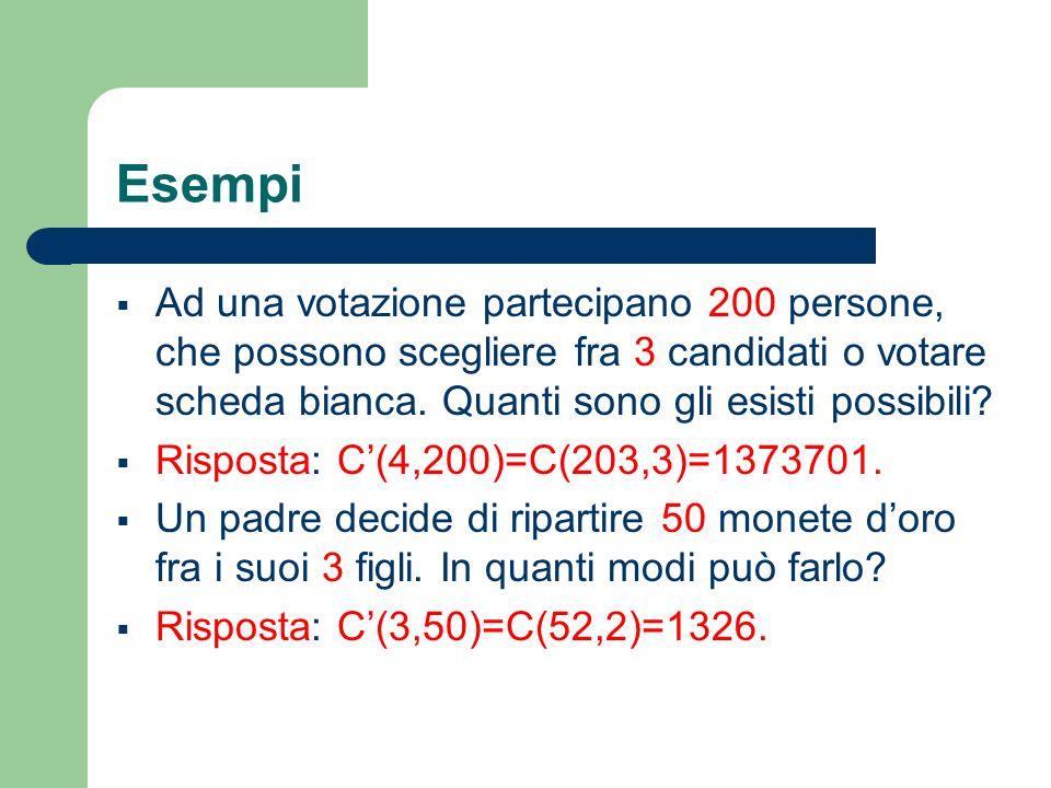 Esempi Ad una votazione partecipano 200 persone, che possono scegliere fra 3 candidati o votare scheda bianca. Quanti sono gli esisti possibili? Rispo