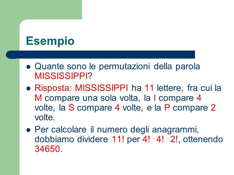 Esempio Quante sono le permutazioni della parola MISSISSIPPI? Risposta: MISSISSIPPI ha 11 lettere, fra cui la M compare una sola volta, la I compare 4