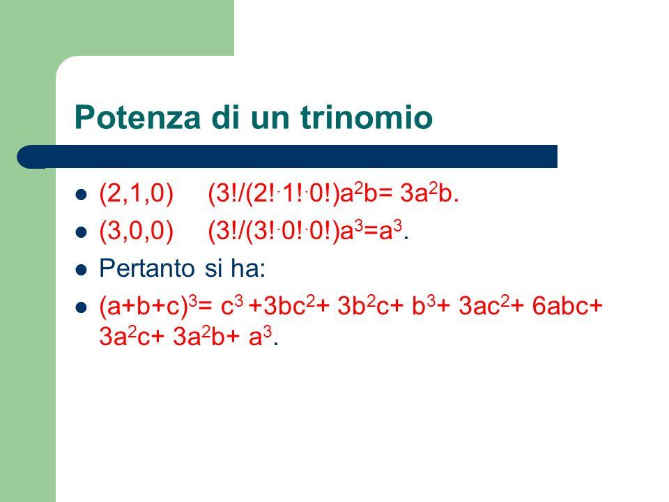 Potenza di un trinomio (2,1,0)(3!/(2!. 1!. 0!)a 2 b= 3a 2 b. (3,0,0)(3!/(3!. 0!. 0!)a 3 =a 3. Pertanto si ha: (a+b+c) 3 = c 3 +3bc 2 + 3b 2 c+ b 3 + 3