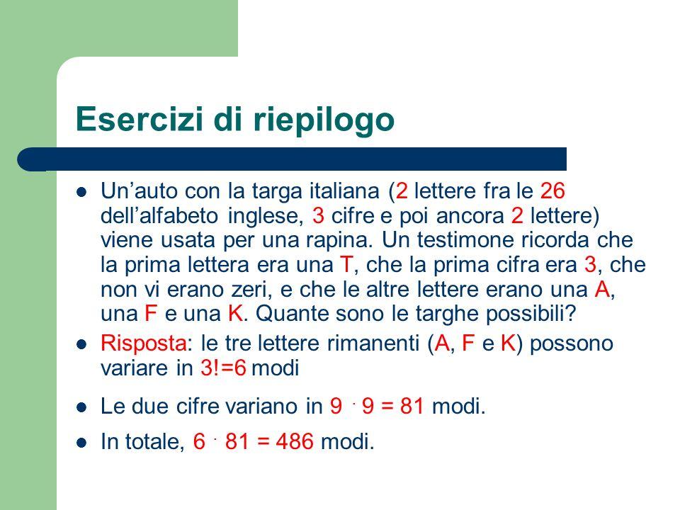 Esercizi di riepilogo Unauto con la targa italiana (2 lettere fra le 26 dellalfabeto inglese, 3 cifre e poi ancora 2 lettere) viene usata per una rapi
