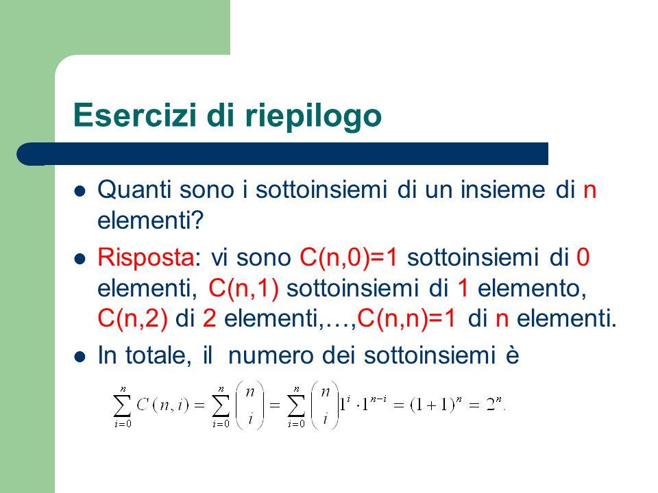 Esercizi di riepilogo Quanti sono i sottoinsiemi di un insieme di n elementi? Risposta: vi sono C(n,0)=1 sottoinsiemi di 0 elementi, C(n,1) sottoinsie