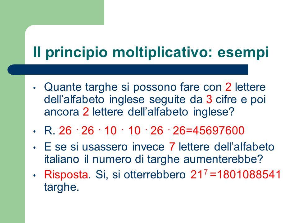 Il principio moltiplicativo: esempi Quante targhe si possono fare con 2 lettere dellalfabeto inglese seguite da 3 cifre e poi ancora 2 lettere dellalf