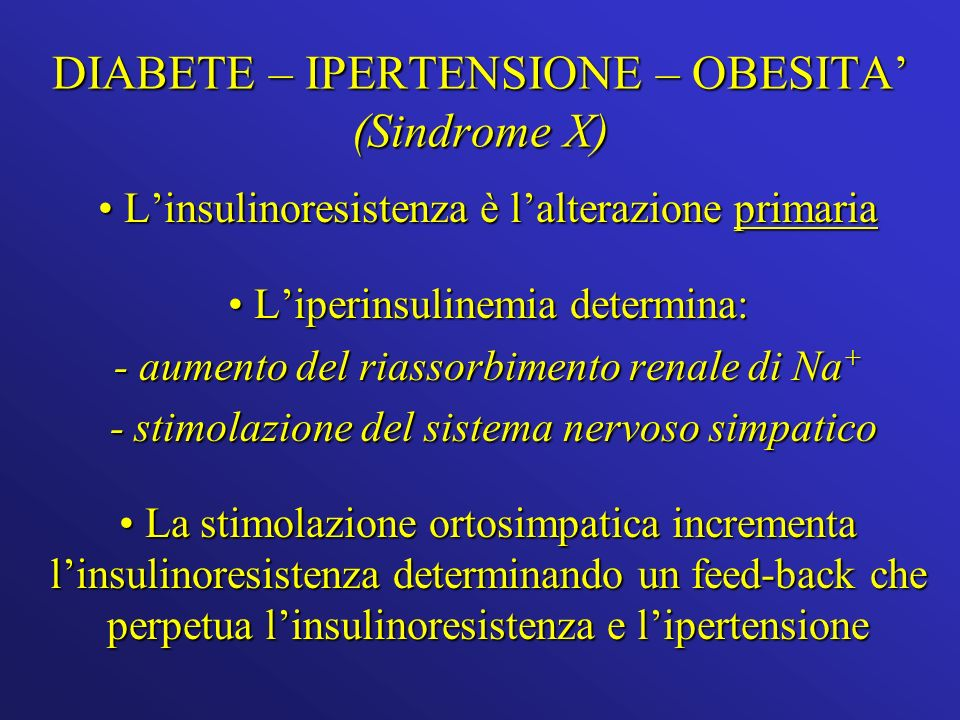 DIABETE – IPERTENSIONE – OBESITA (Sindrome X) Linsulinoresistenza è lalterazione primaria Linsulinoresistenza è lalterazione primaria Liperinsulinemia determina: Liperinsulinemia determina: - aumento del riassorbimento renale di Na + - stimolazione del sistema nervoso simpatico - stimolazione del sistema nervoso simpatico La stimolazione ortosimpatica incrementa linsulinoresistenza determinando un feed-back che perpetua linsulinoresistenza e lipertensione La stimolazione ortosimpatica incrementa linsulinoresistenza determinando un feed-back che perpetua linsulinoresistenza e lipertensione