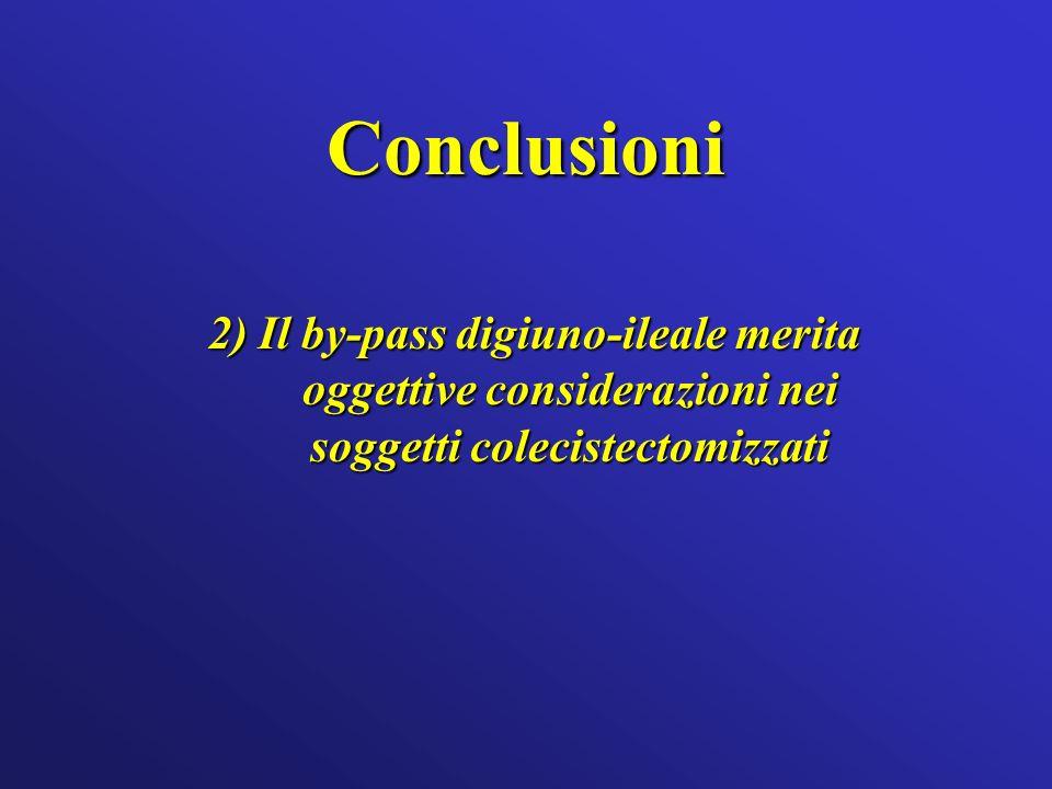 Conclusioni 2) Il by-pass digiuno-ileale merita oggettive considerazioni nei soggetti colecistectomizzati