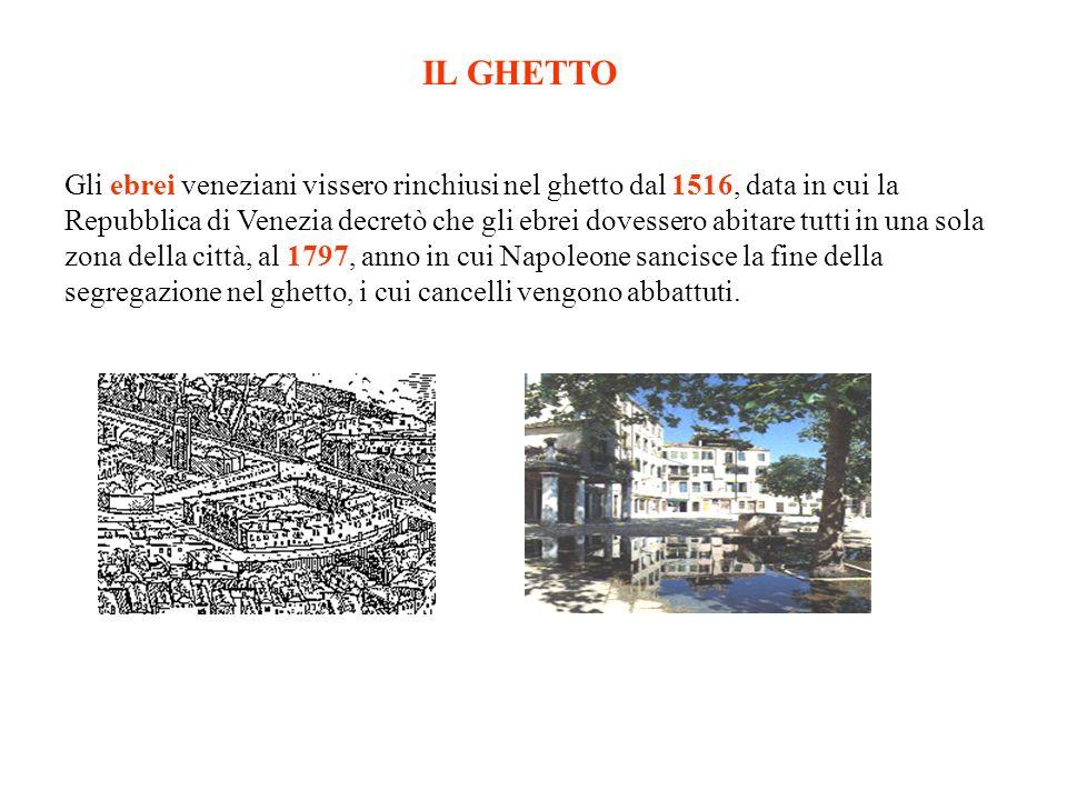Gli ebrei veneziani vissero rinchiusi nel ghetto dal 1516, data in cui la Repubblica di Venezia decretò che gli ebrei dovessero abitare tutti in una sola zona della città, al 1797, anno in cui Napoleone sancisce la fine della segregazione nel ghetto, i cui cancelli vengono abbattuti.