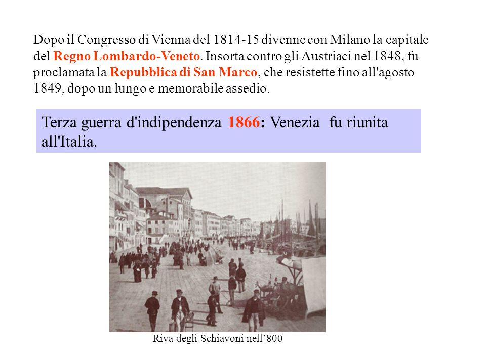 Dopo il Congresso di Vienna del 1814-15 divenne con Milano la capitale del Regno Lombardo-Veneto. Insorta contro gli Austriaci nel 1848, fu proclamata