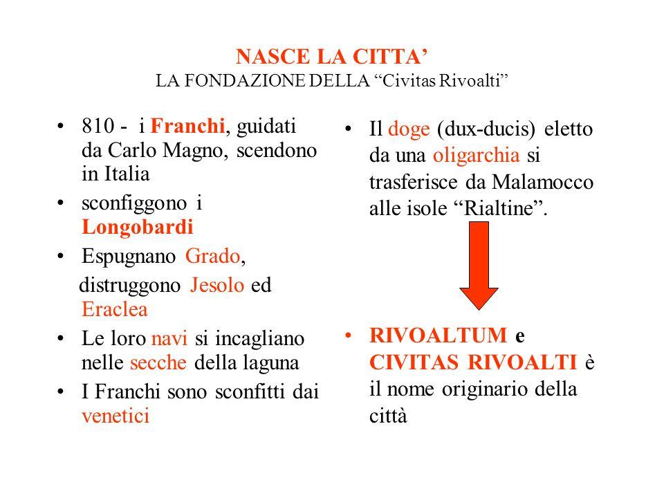 NASCE LA CITTA LA FONDAZIONE DELLA Civitas Rivoalti 810 - i Franchi, guidati da Carlo Magno, scendono in Italia sconfiggono i Longobardi Espugnano Gra