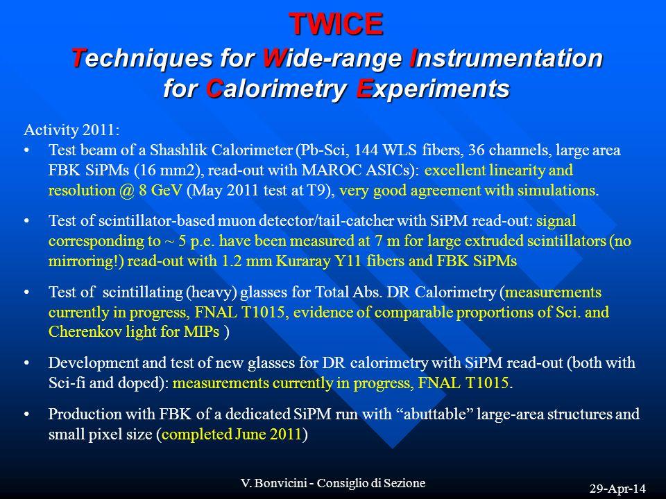 29-Apr-14 V. Bonvicini - Consiglio di Sezione TWICE Techniques for Wide-range Instrumentation for Calorimetry Experiments Activity 2011: Test beam of
