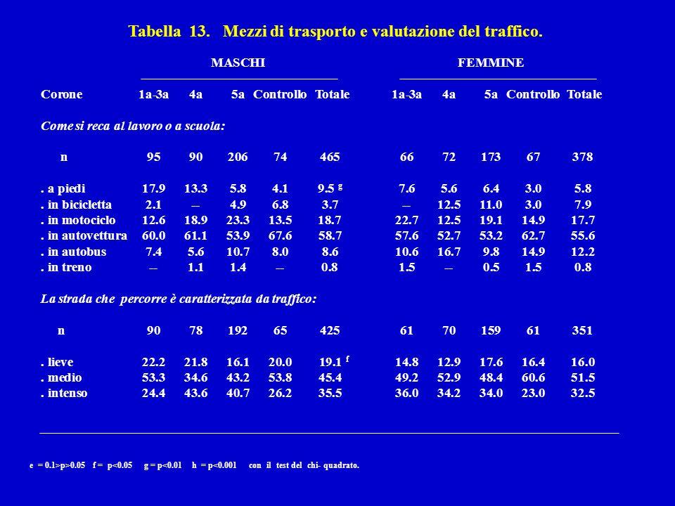 Tabella 13. Mezzi di trasporto e valutazione del traffico.