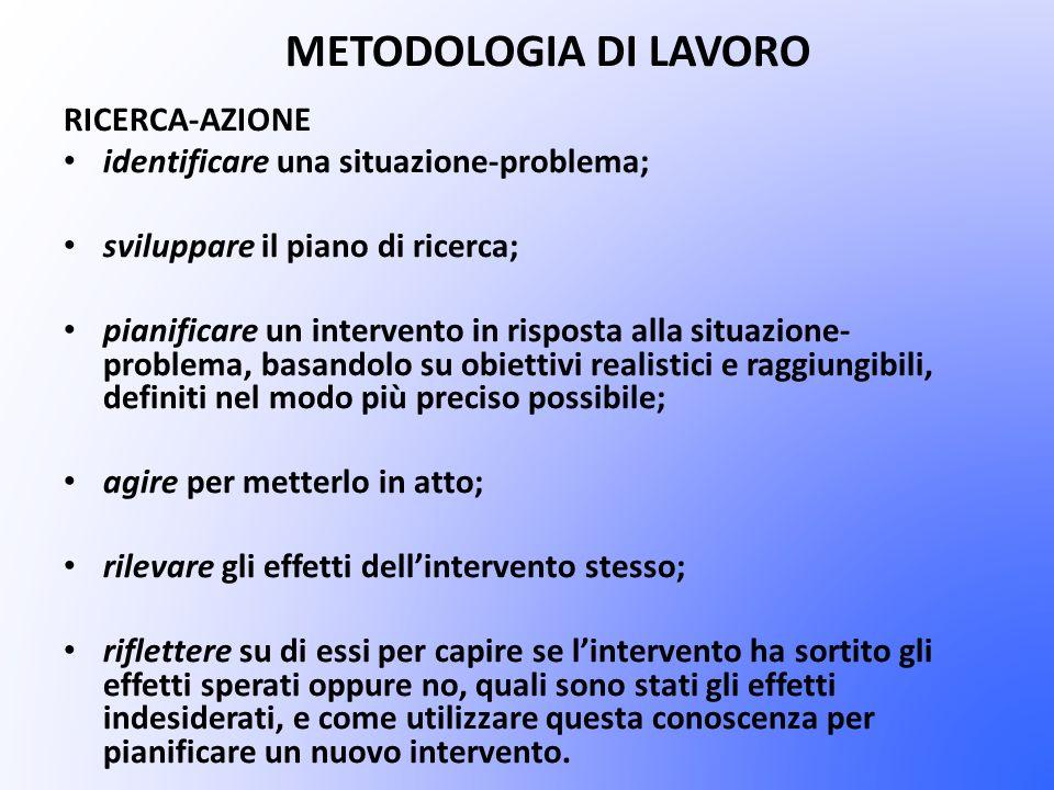 METODOLOGIA DI LAVORO RICERCA-AZIONE identificare una situazione-problema; sviluppare il piano di ricerca; pianificare un intervento in risposta alla