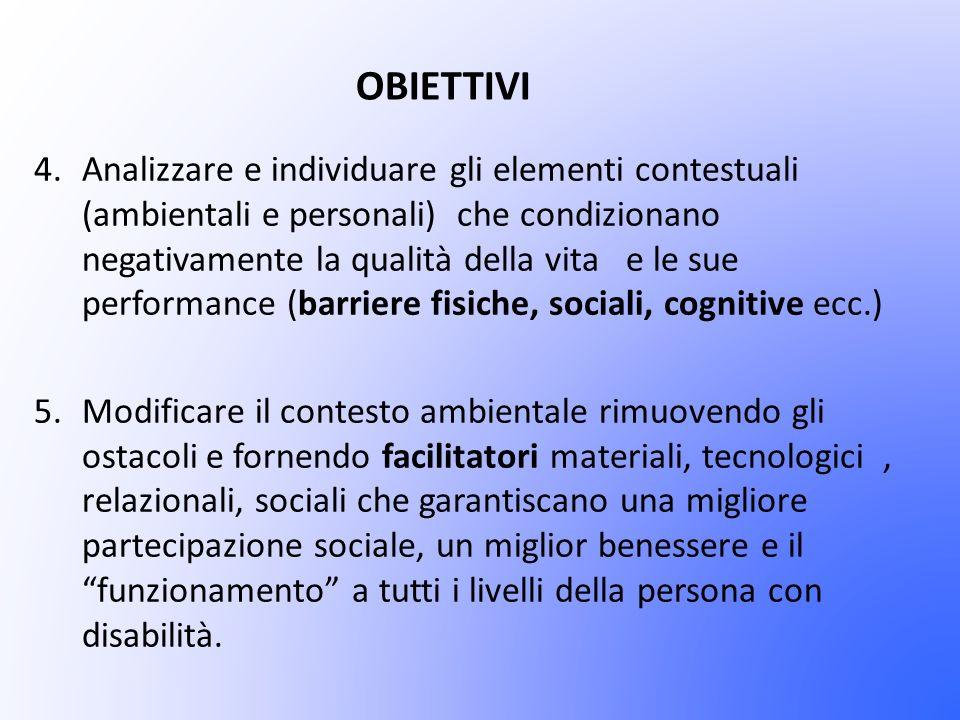 OBIETTIVI 4.Analizzare e individuare gli elementi contestuali (ambientali e personali) che condizionano negativamente la qualità della vita e le sue p