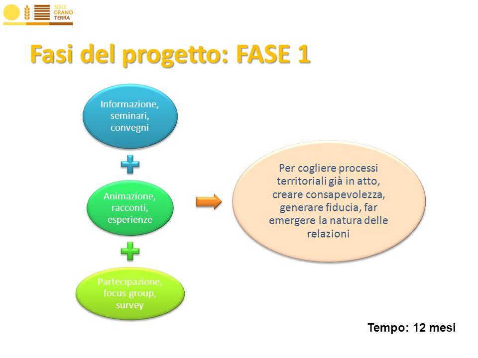 Fasi del progetto: FASE 1 Informazione, seminari, convegni Animazione, racconti, esperienze Partecipazione, focus group, survey Tempo: 12 mesi