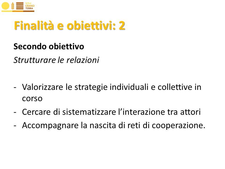 Finalità e obiettivi: 2 Secondo obiettivo Strutturare le relazioni -Valorizzare le strategie individuali e collettive in corso -Cercare di sistematizzare linterazione tra attori -Accompagnare la nascita di reti di cooperazione.