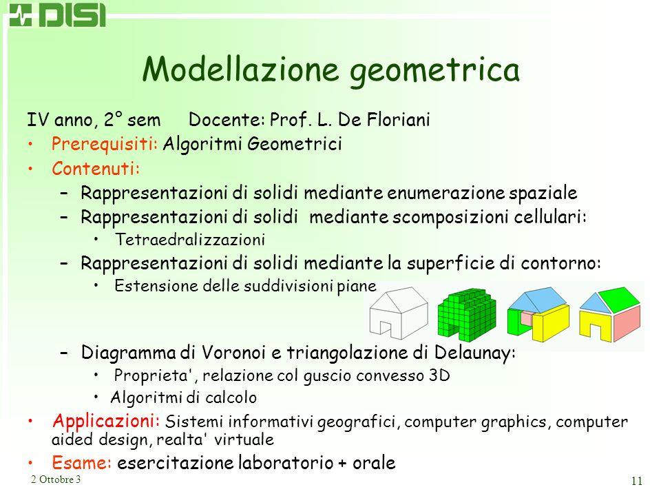 2 Ottobre 3 11 Modellazione geometrica IV anno, 2° sem Docente: Prof. L. De Floriani Prerequisiti: Algoritmi Geometrici Contenuti: –Rappresentazioni d