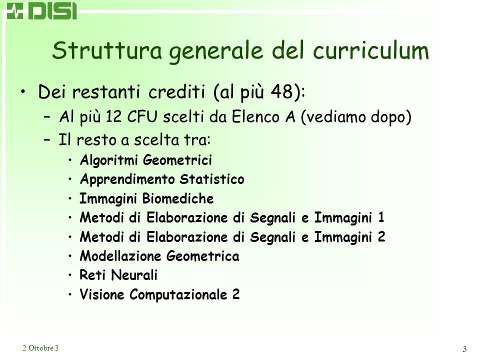 2 Ottobre 3 3 Struttura generale del curriculum Dei restanti crediti (al più 48): –Al più 12 CFU scelti da Elenco A (vediamo dopo) –Il resto a scelta