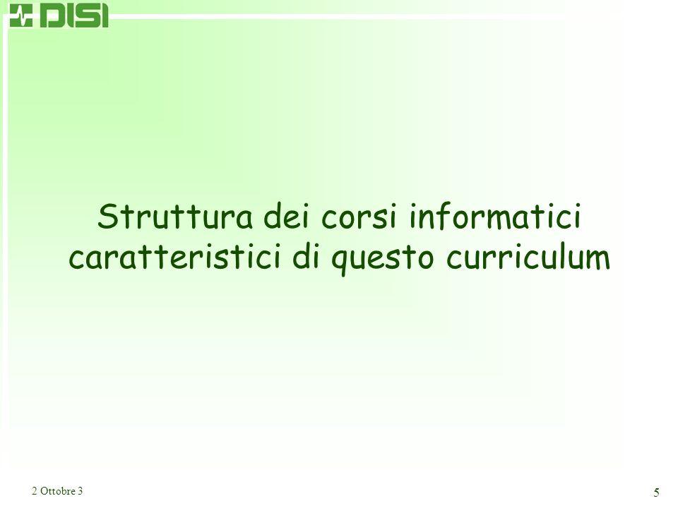 2 Ottobre 3 5 Struttura dei corsi informatici caratteristici di questo curriculum