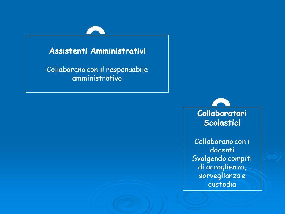 Assistenti Amministrativi Collaborano con il responsabile amministrativo Collaboratori Scolastici Collaborano con i docenti Svolgendo compiti di accog