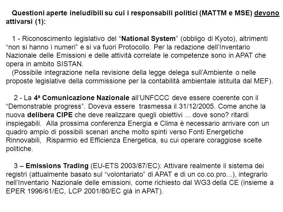 Questioni aperte ineludibili su cui i responsabili politici (MATTM e MSE) devono attivarsi (1): 1 - Riconoscimento legislativo del National System (obbligo di Kyoto), altrimenti non si hanno i numeri e si va fuori Protocollo.